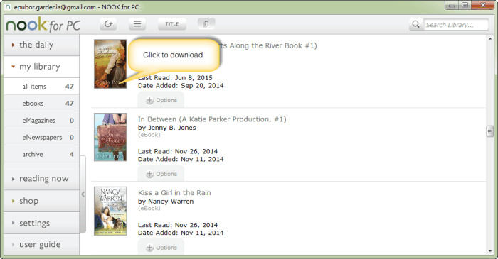 how to download nook books to pc