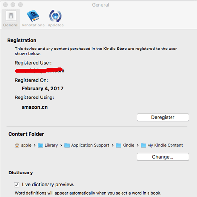 deregister kindle for mac