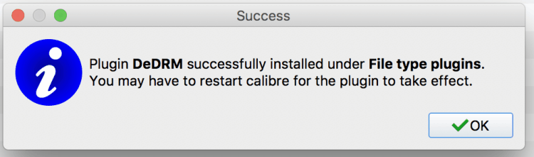 calibre DeDRM plugin added on mac