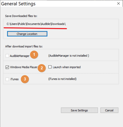 audible download manager general settings