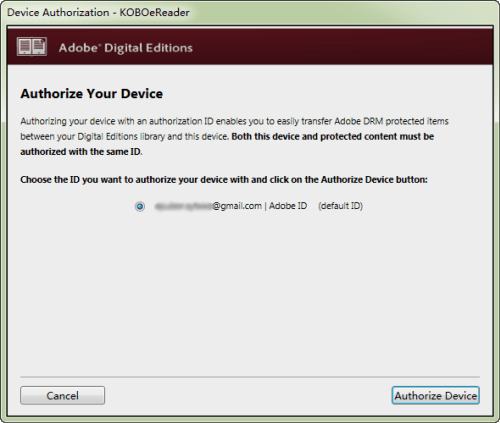 authorize eReader with Adobe Digital Editions