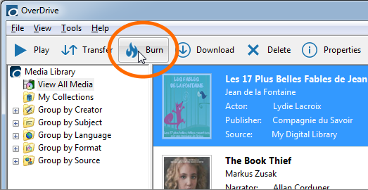 burn OverDrive Audiobooks to CDs