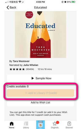 buy audible with credit