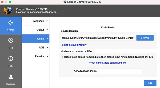 imposta la directory kindle