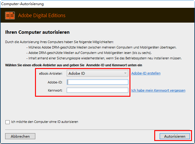 Computer autorisieren (Adobe-ID)