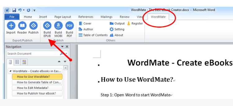convert word to epub with wordmate