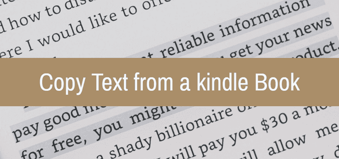 copy text from a kindle book