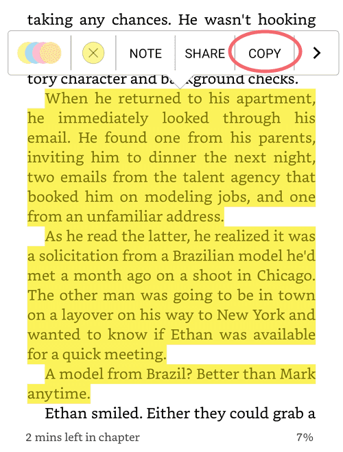 copy text from Kindle app for android iOS