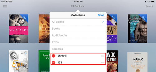 delete ibook collections