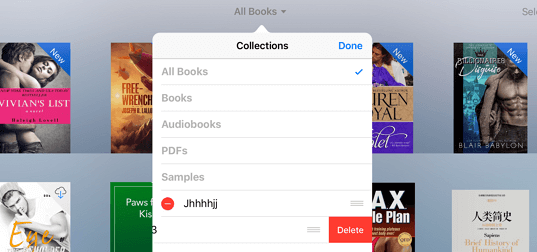 delete ibooks collections