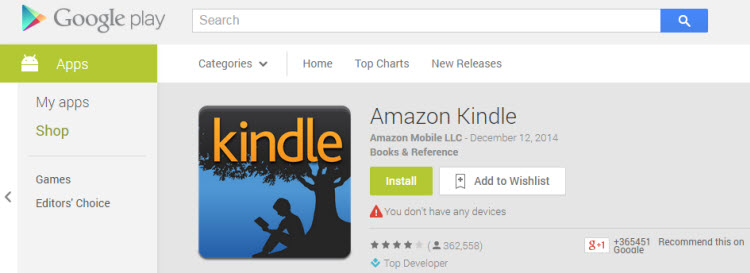 download Kindle app in Google Play store