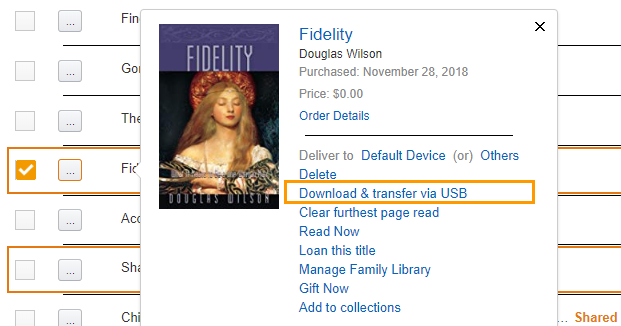 transfer and download kindle