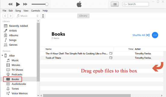 drag epub to itunes