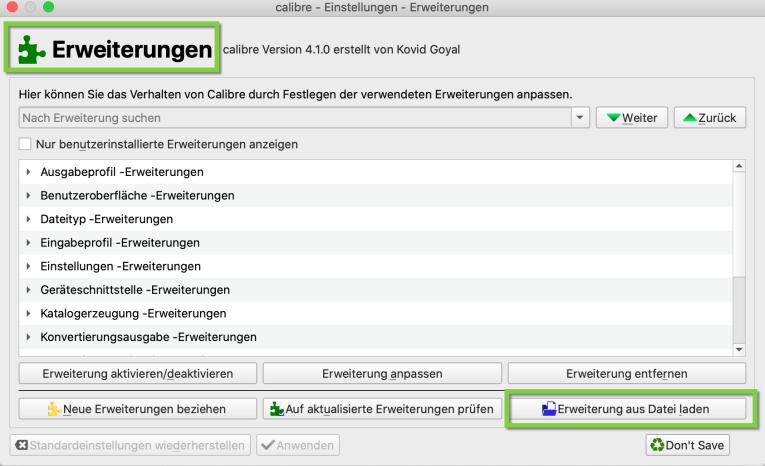 Erweiterung aus Datei laden