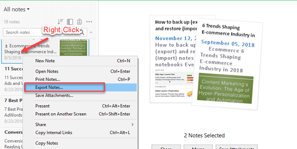export notes windows