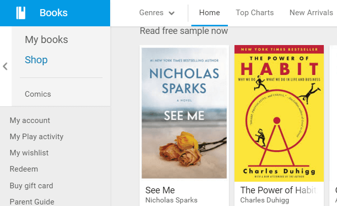 Google Play Books Store
