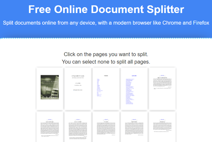 groupdocs online document splitter