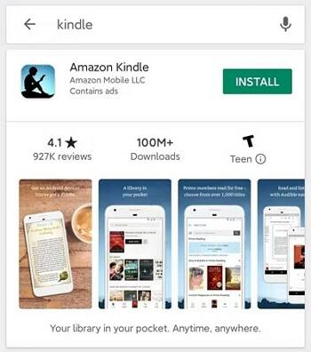 install kindle app to android