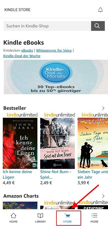 Kindle store on android