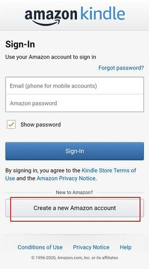 register kindle app for android