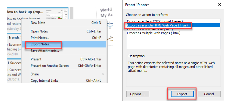select export to