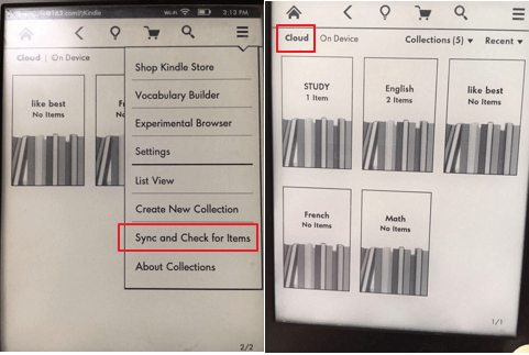 sync collections to kindle device