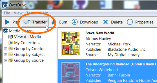 transfer overdrive audiobooks to an mp3 player