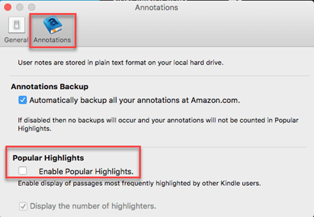 turn off kindle popular highlights on kindle for mac