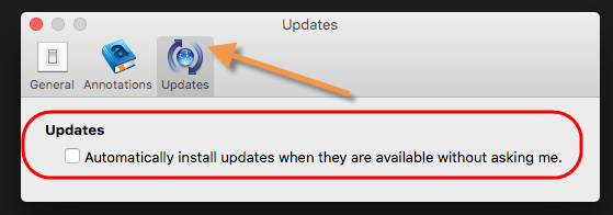 stop auto update on kindle for mac