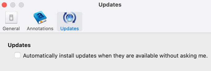 deseleziona gli aggiornamenti automatici kindle