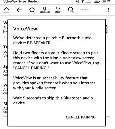 VoiceView over Bluetooth